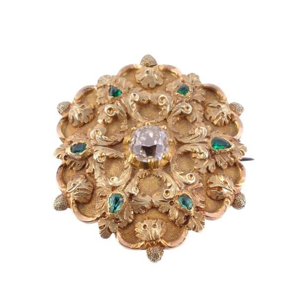 An early Victorian gold, diamond and emerald brooc