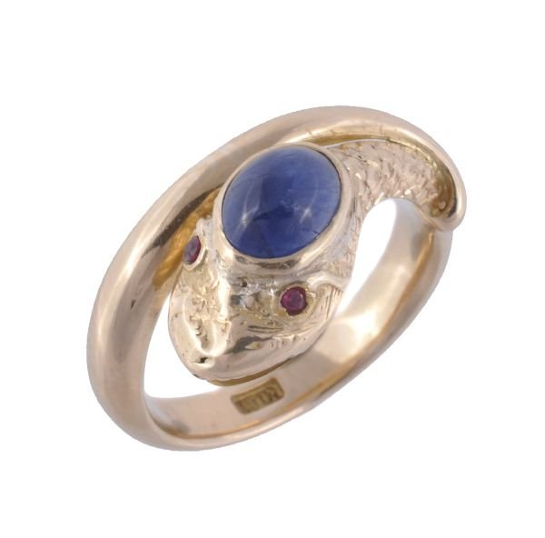 A sapphire and ruby serpent ring,  the engraved se
