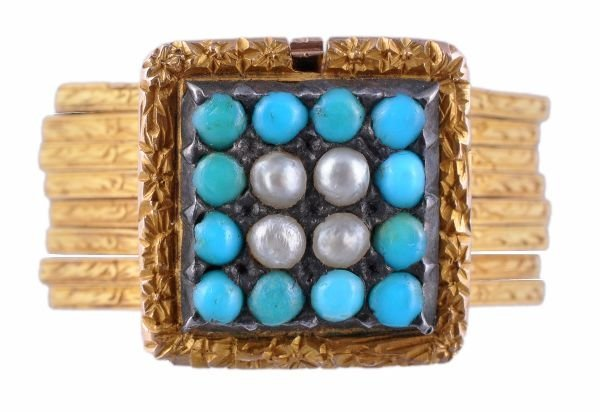 A mid 19th century gold, turquoise and half pearl
