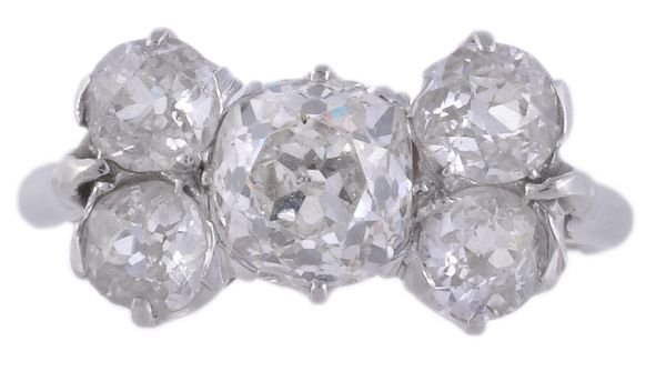 A diamond five stone ring,  the central cushion sh