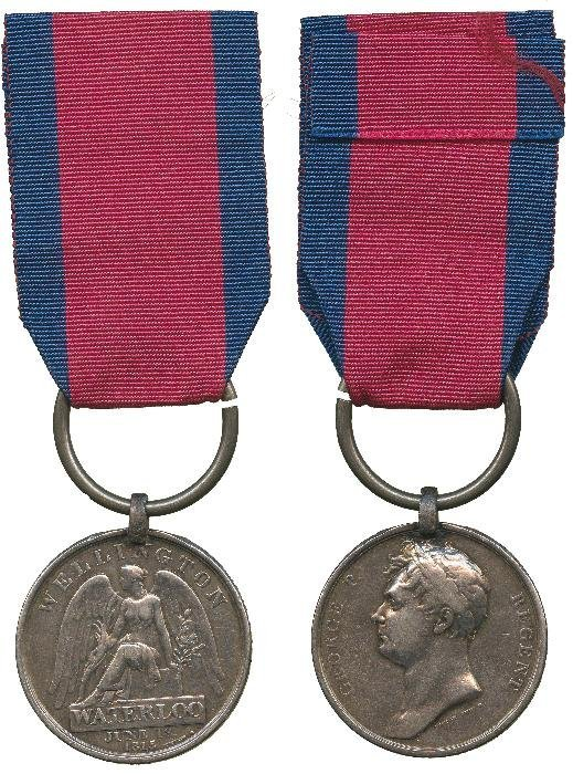 WATERLOO MEDAL, 1815, with original steel clip and