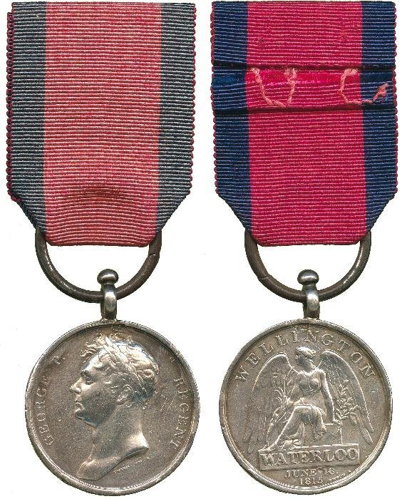 WATERLOO MEDAL, 1815, with contemporary silver rep