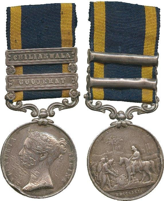 PUNJAB MEDAL, 1848-49, 2 clasps, Chilianwala, Gooj