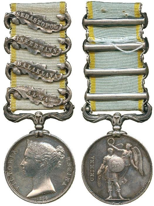CRIMEA MEDAL, 1854-58, 4 clasps, Alma, Balaklava,