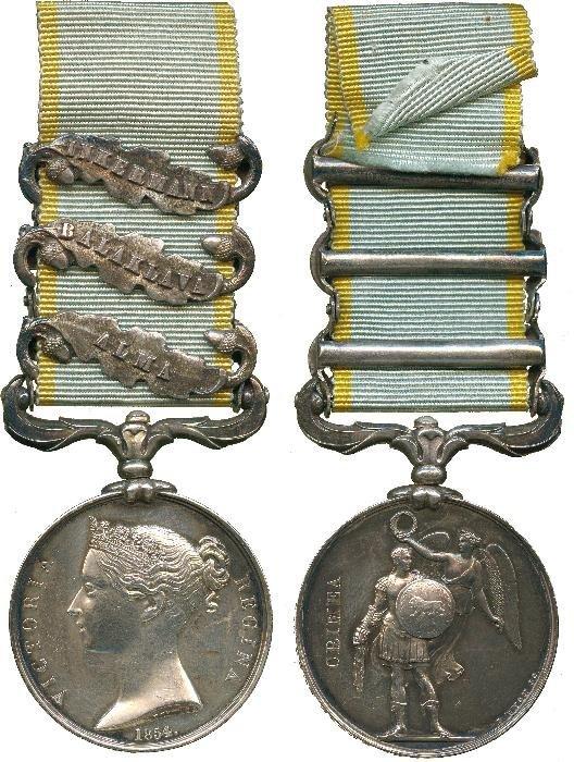 CRIMEA MEDAL, 1854-58, 3 clasps, Alma, Balaklava,