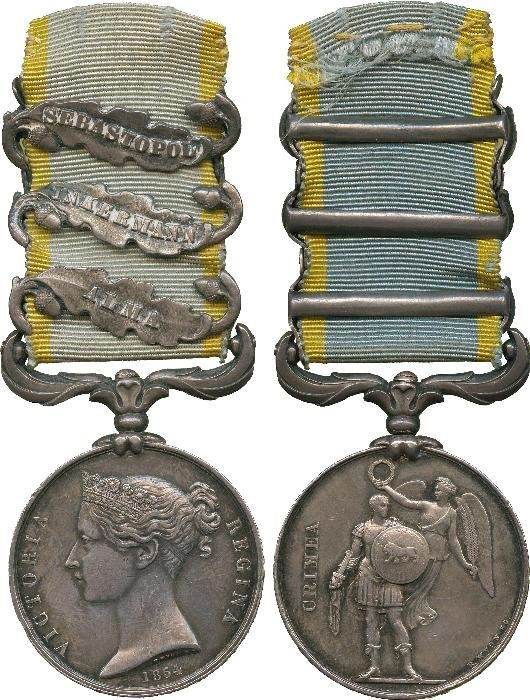 CRIMEA MEDAL, 1854-58, 3 clasps, Alma, Inkermann,