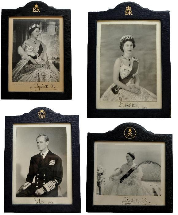 A group of four signed 'presentation' portrait pho