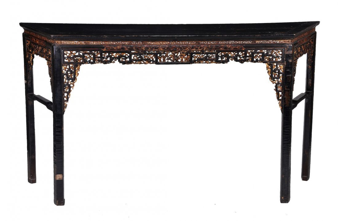 A Chinese black lacquered altar table, late Qing p