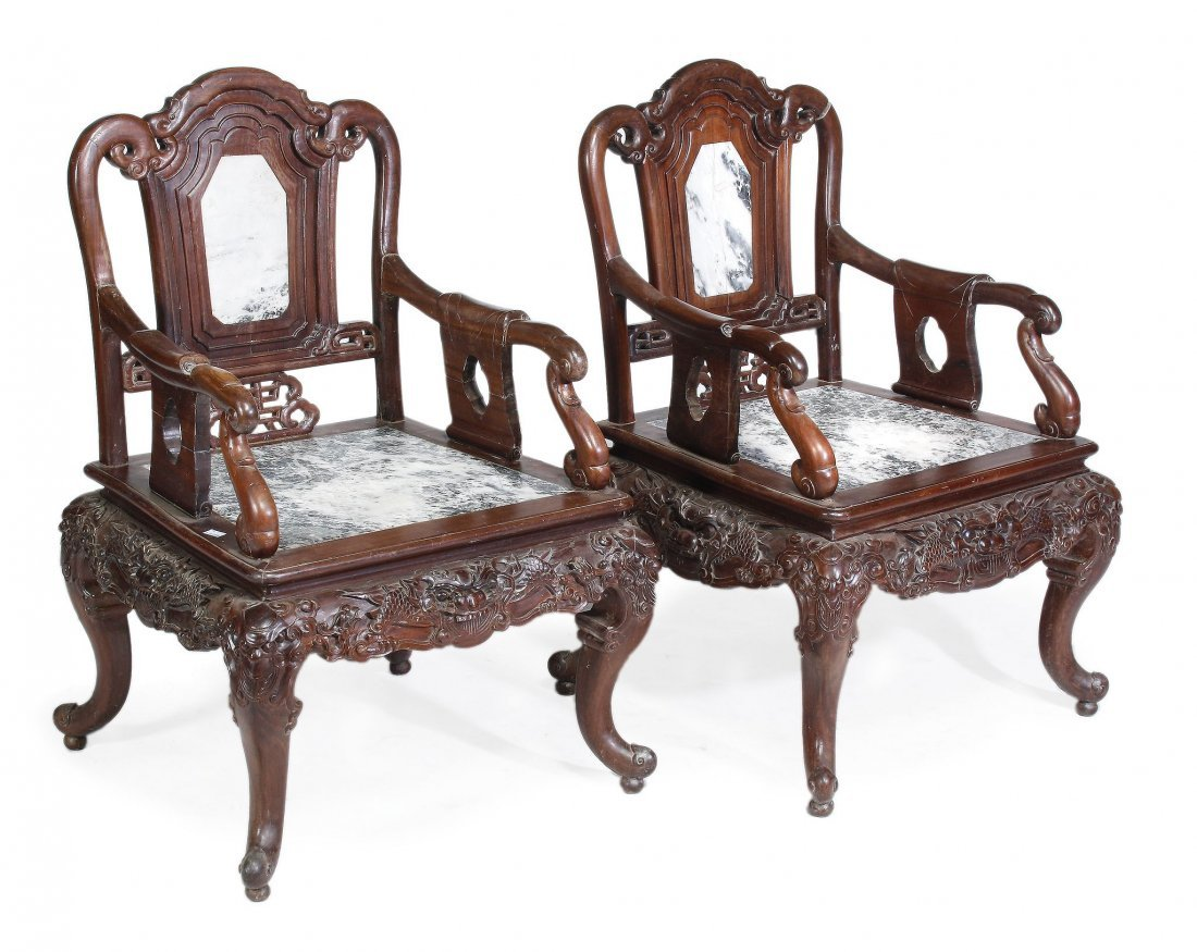 A pair of Chinese rosewood marble mounted armchair