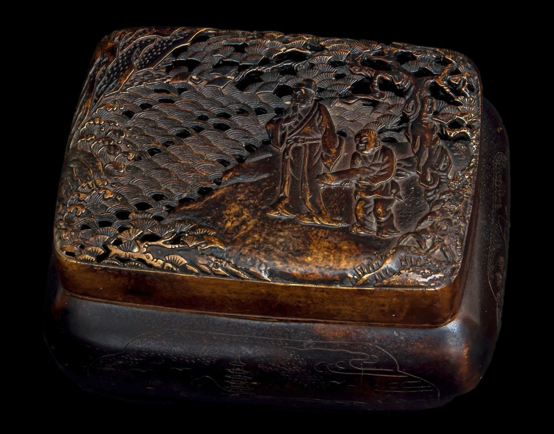 A Chinese bronze hand warmer, Ming-Qing dynasty ,