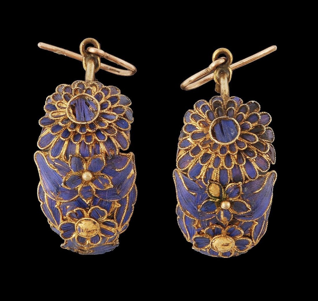 A pair of Chinese gilt metal hooped earrings, 19th