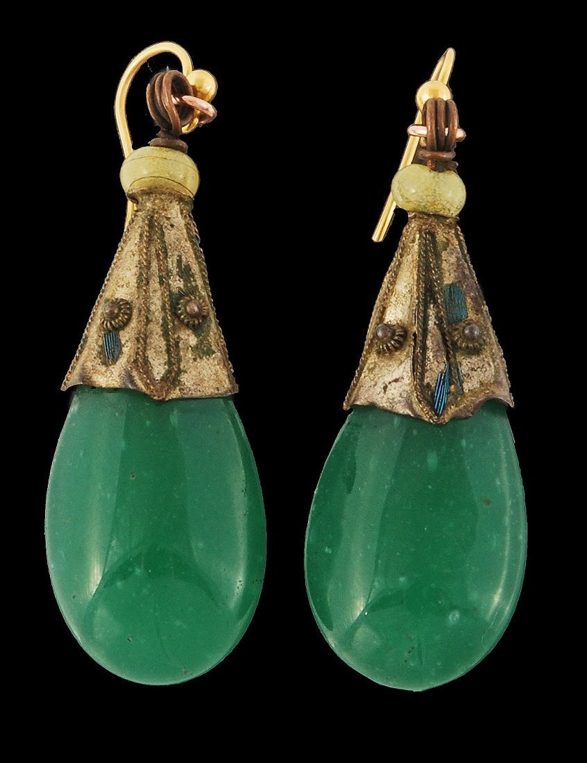 A pair of Chinese ear pendants, late Qing dynasty