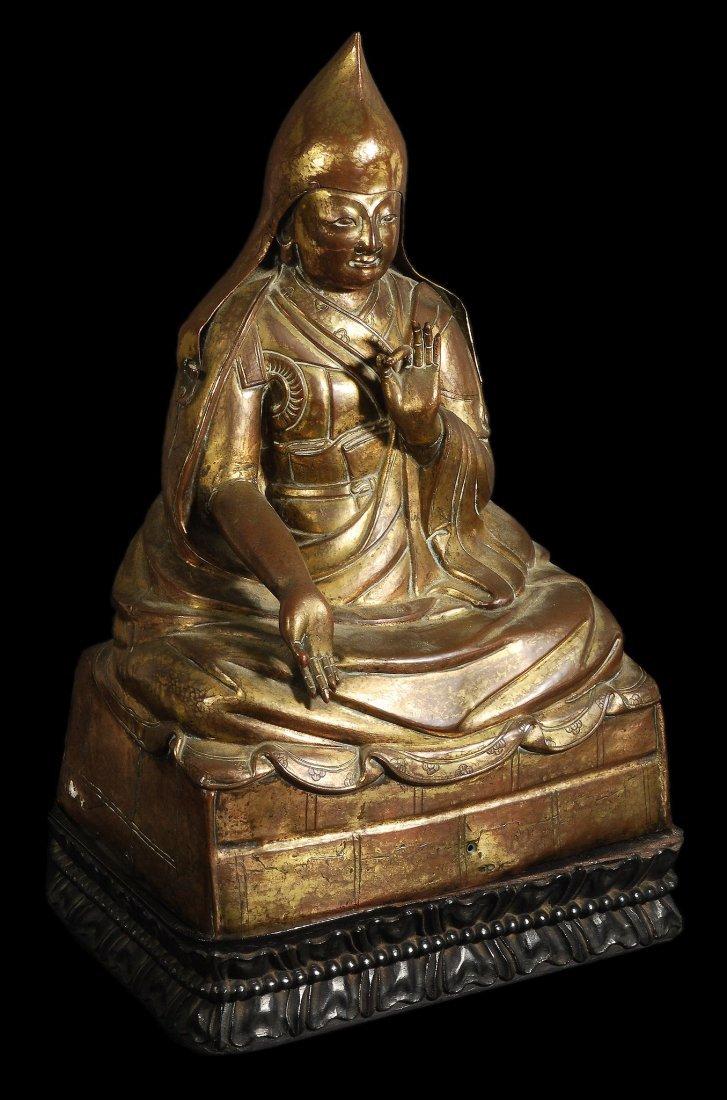 A Tibetan gilded copper repousse' figure of a Dala