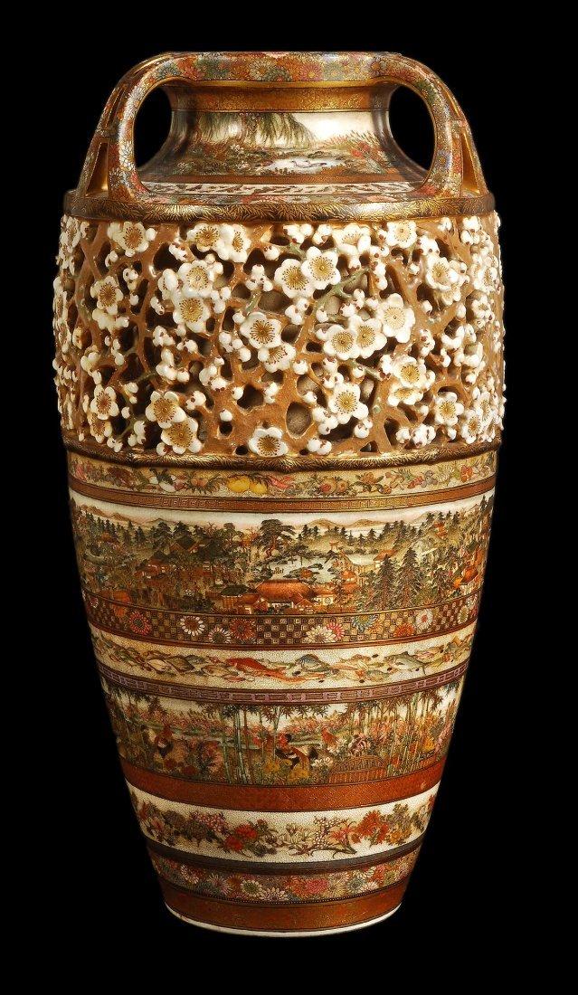 A Japanese Kinkozan Satsuma vase by Sozan, Meiji p