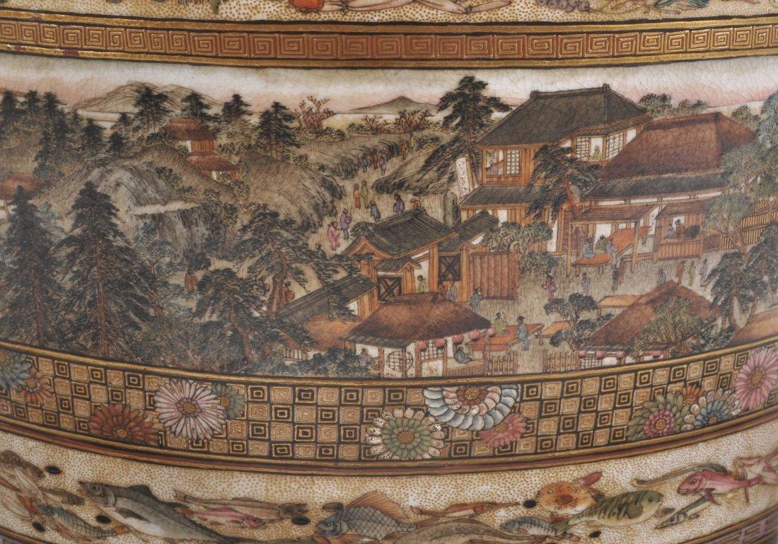 A Japanese Kinkozan Satsuma vase by Sozan, Meiji p - 4