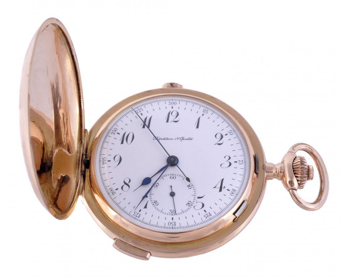 An 18 carat gold hunter repeating chronograph pock