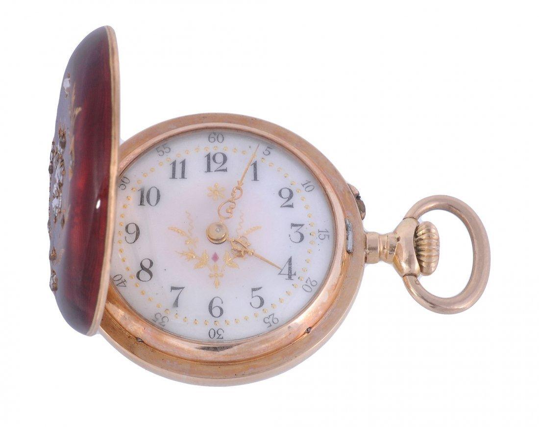 A slim 18 carat gold late 19th century Hunter enam