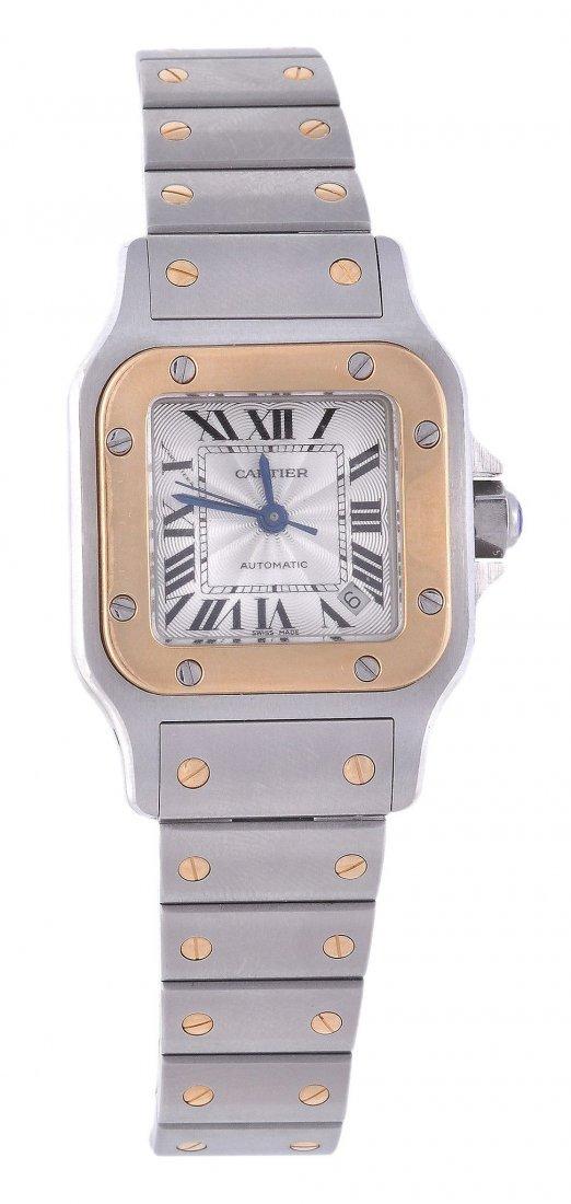 *Cartier, Santos, a lady's two colour wristwatch, c