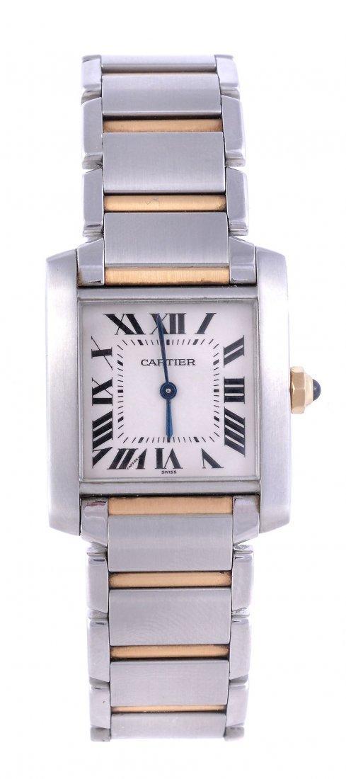 Cartier, Tank Francaise, a lady's two colour wrist