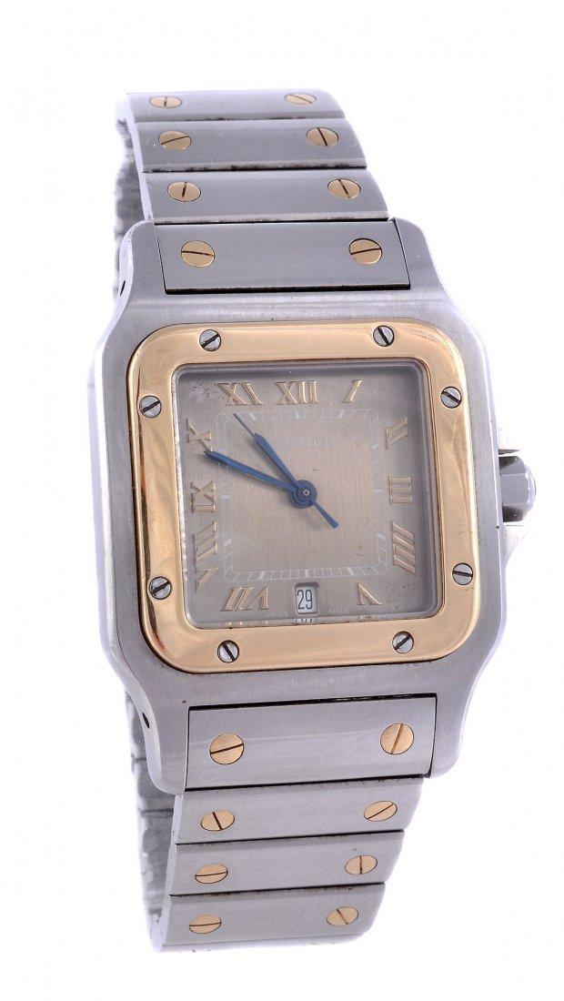 *Cartier, Santos, a midi two colour wristwatch, cir