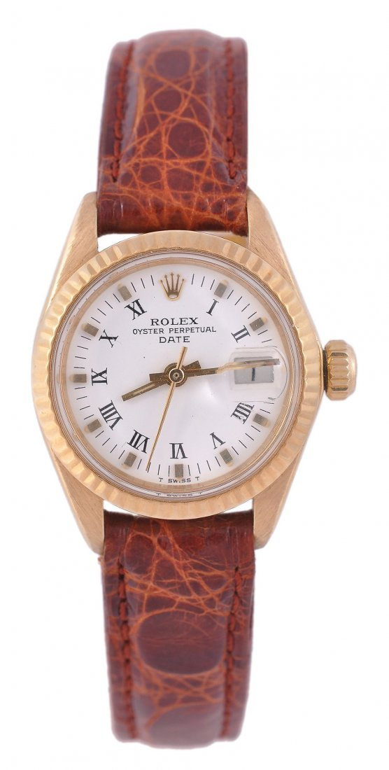 Rolex, Oyster Perpetual Date, a lady's 18 carat go