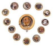 A collection of Victorian enamel dog and fox butto