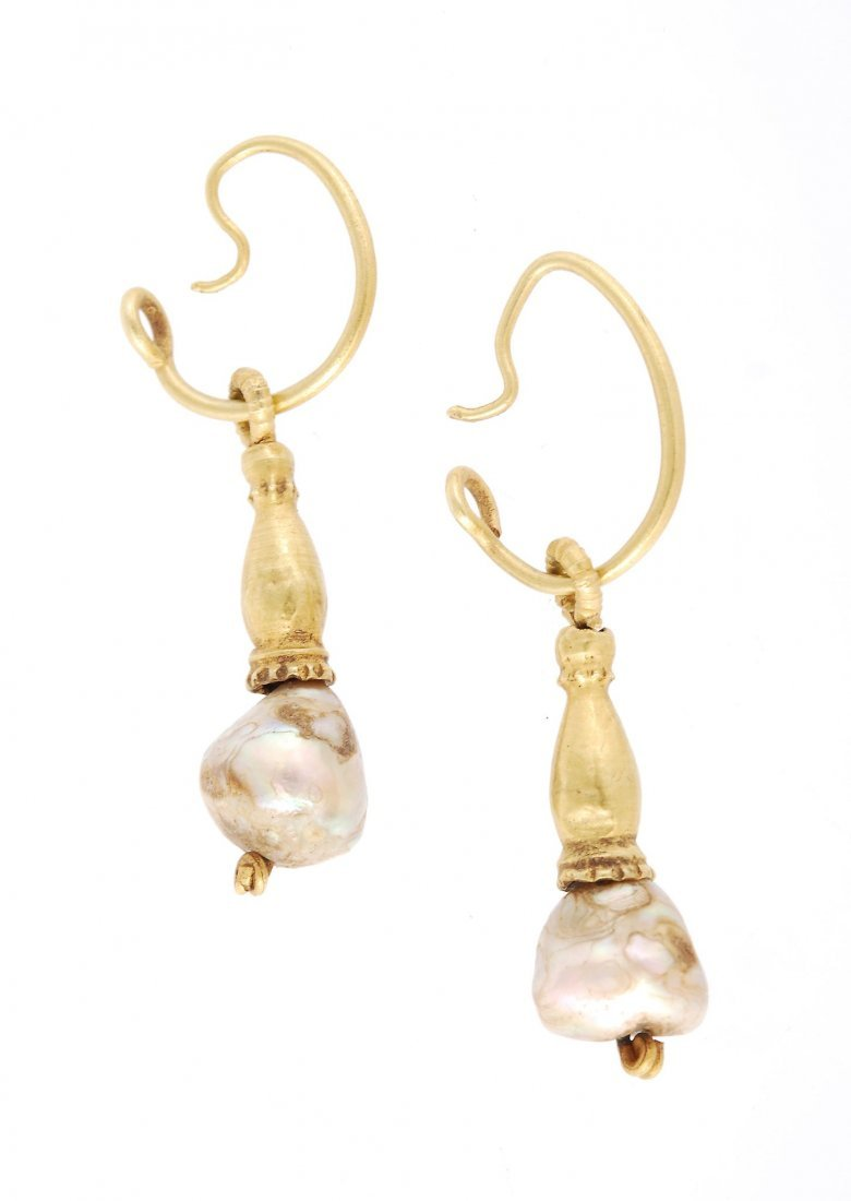 A pair of Antique Roman gold and natural pearl ear