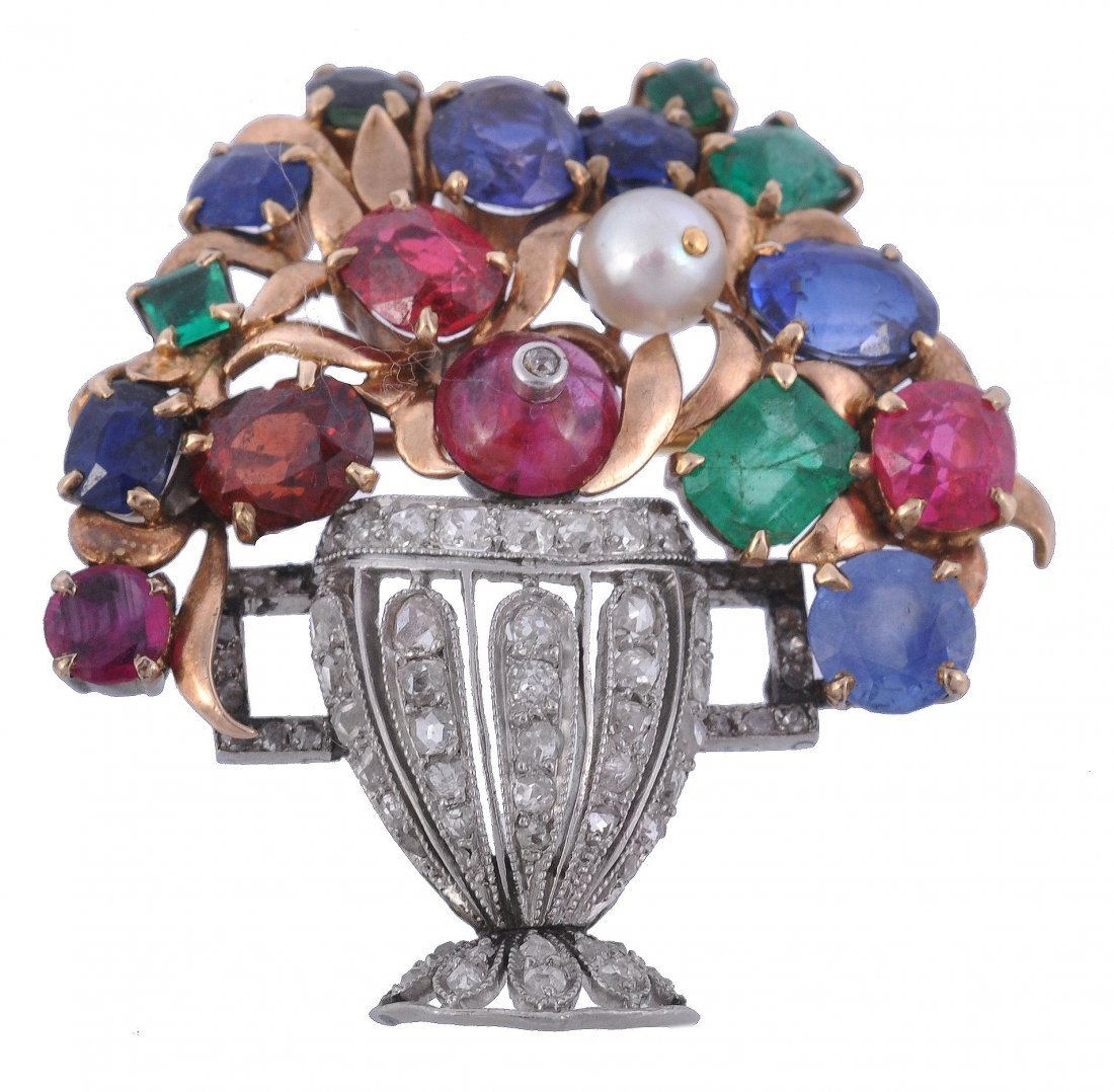 A multi gem giardinetto brooch, the rose cut diamo