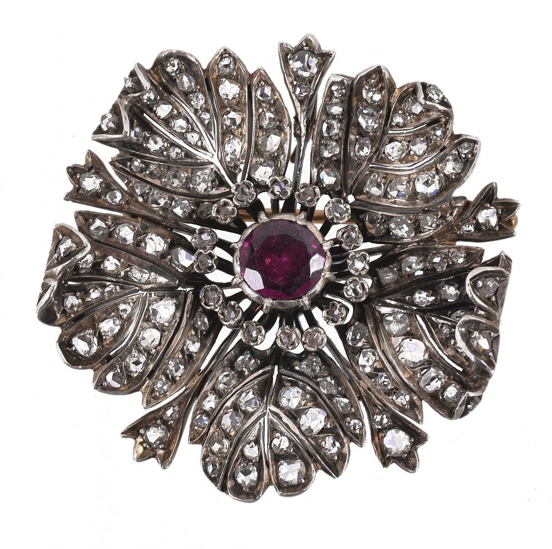 A late 19th century diamond and garnet flower broo