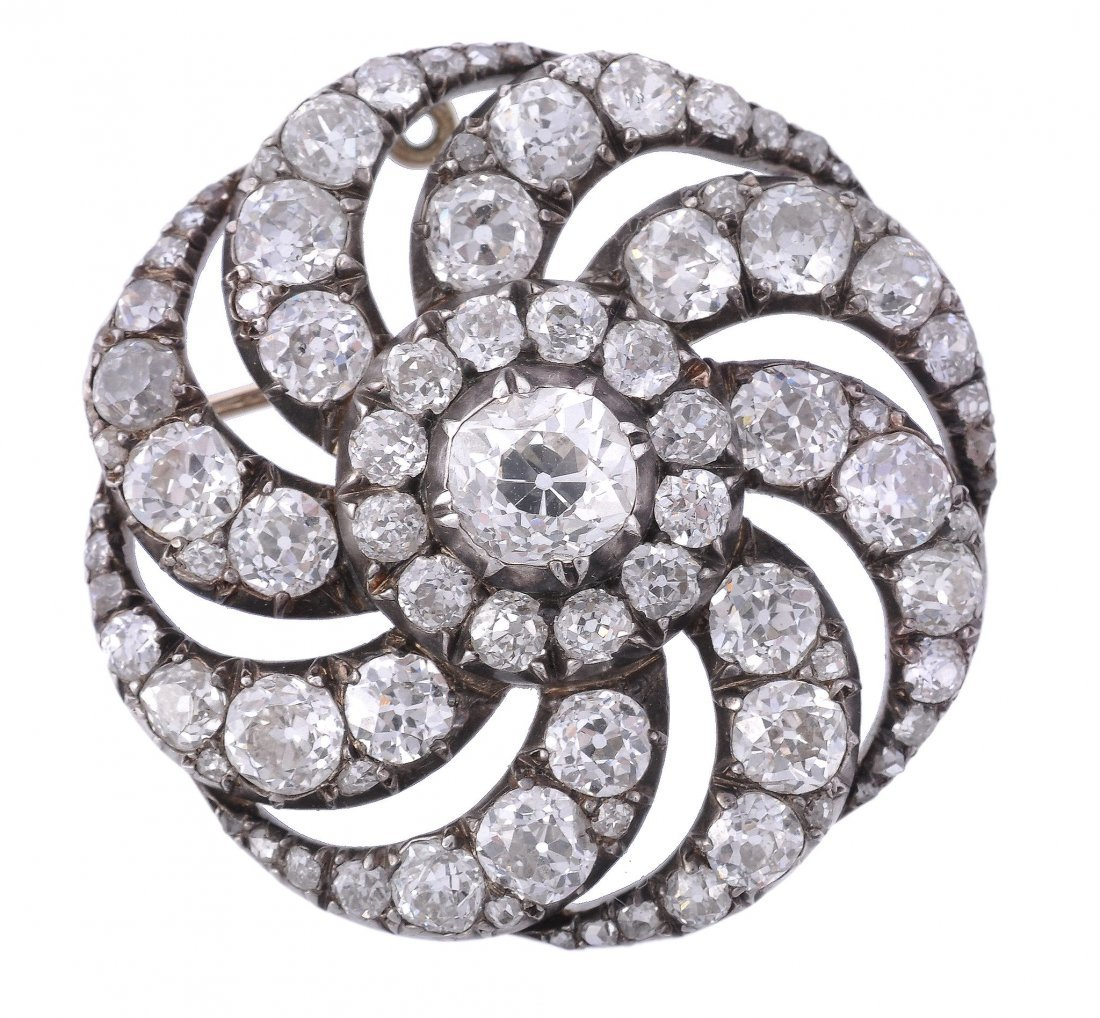 A late Victorian diamond whorl brooch, circa 1880