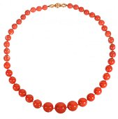 A graduated coral bead necklace by Bulgari, consis