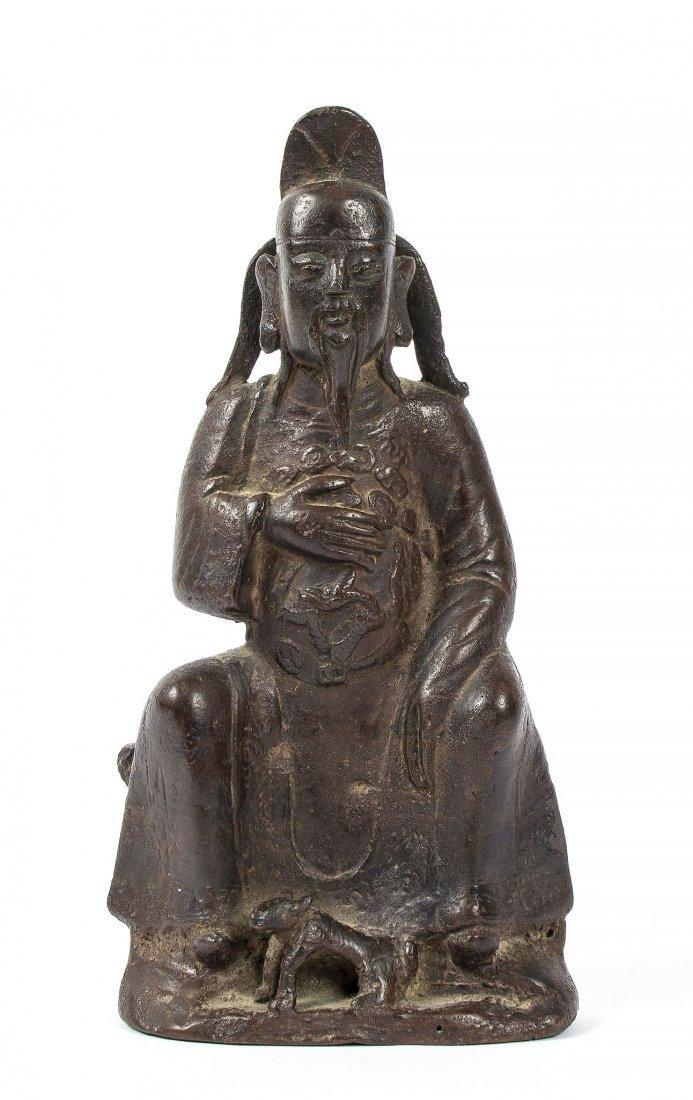 A cast bronze figure of the Daoist God, Erlang Sheng,