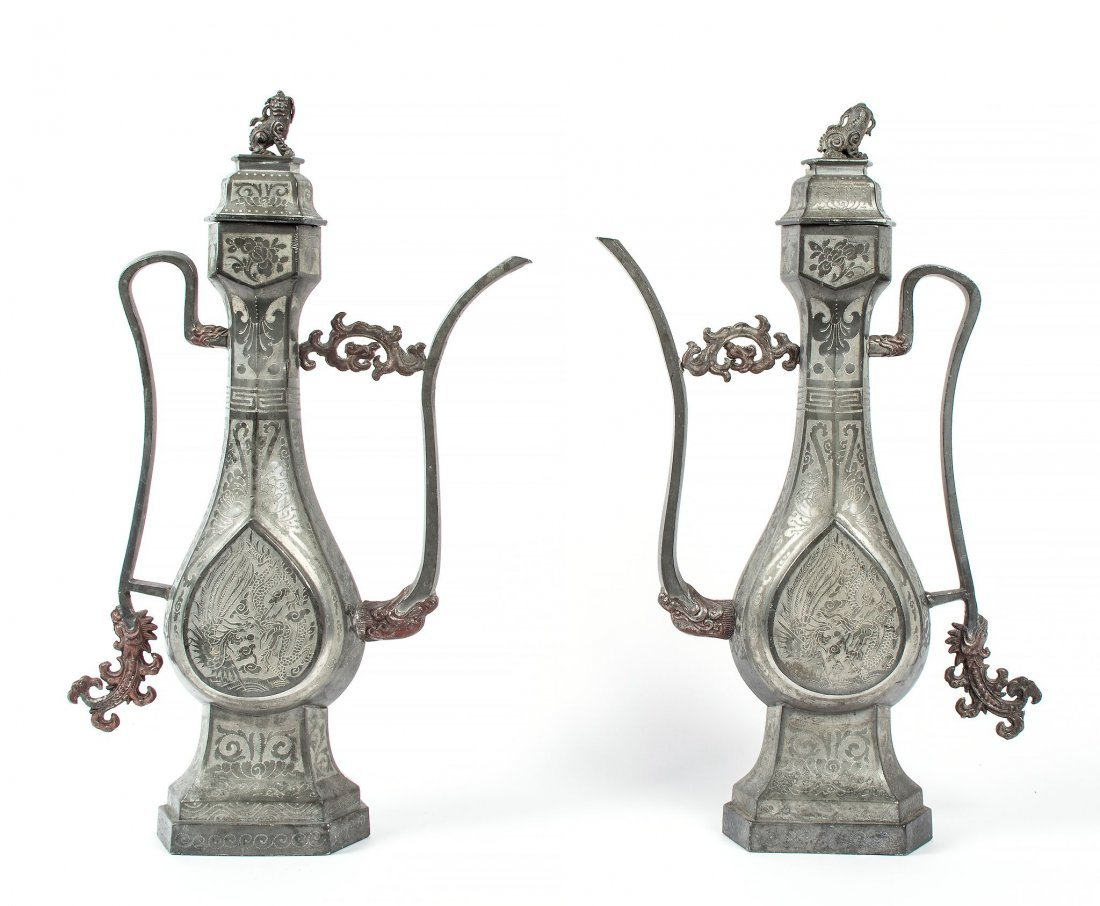 A pair of Pewter ewers, 19th century ,of Middle Eastern