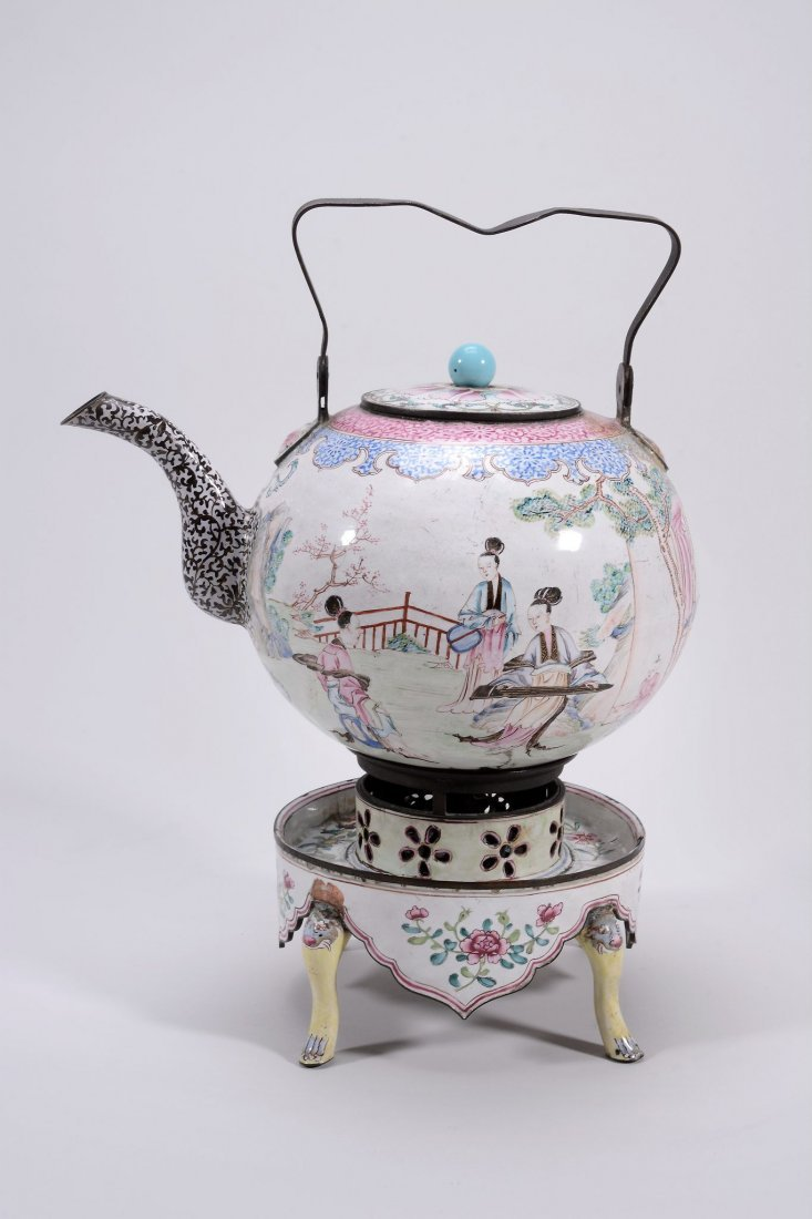 A Canton enamel wine pot and stand with burner, 18th