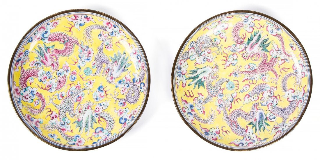 A pair of painted enamel dishes, Qianlong period , of