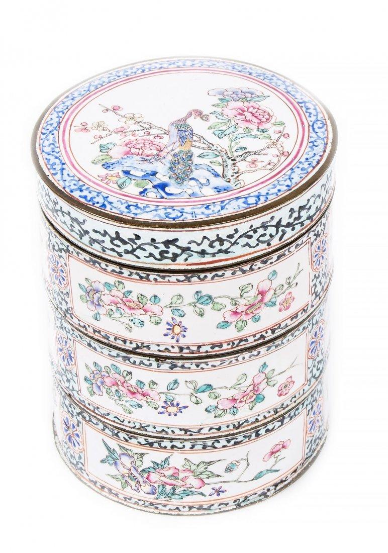 A Canton enamel tiered box, 18th century , of circular