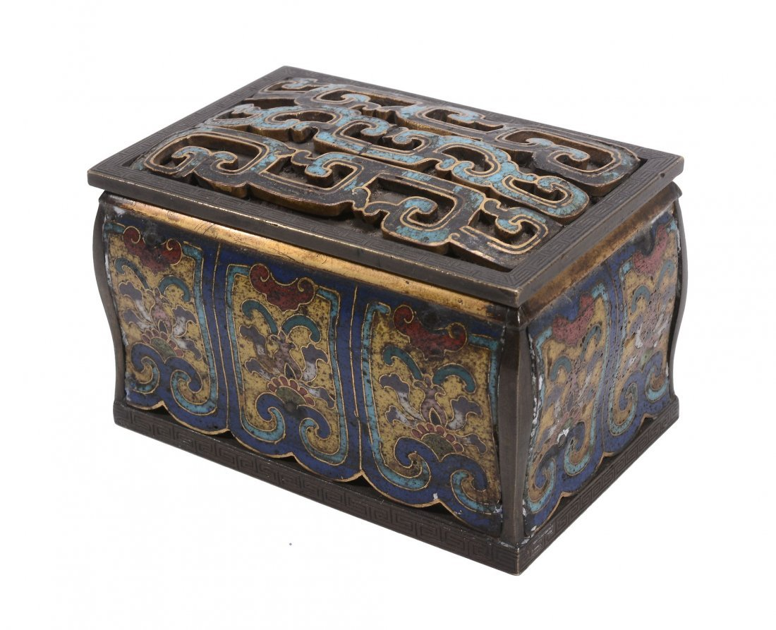 A Chinese cloisonne' box, probably 19th century but of