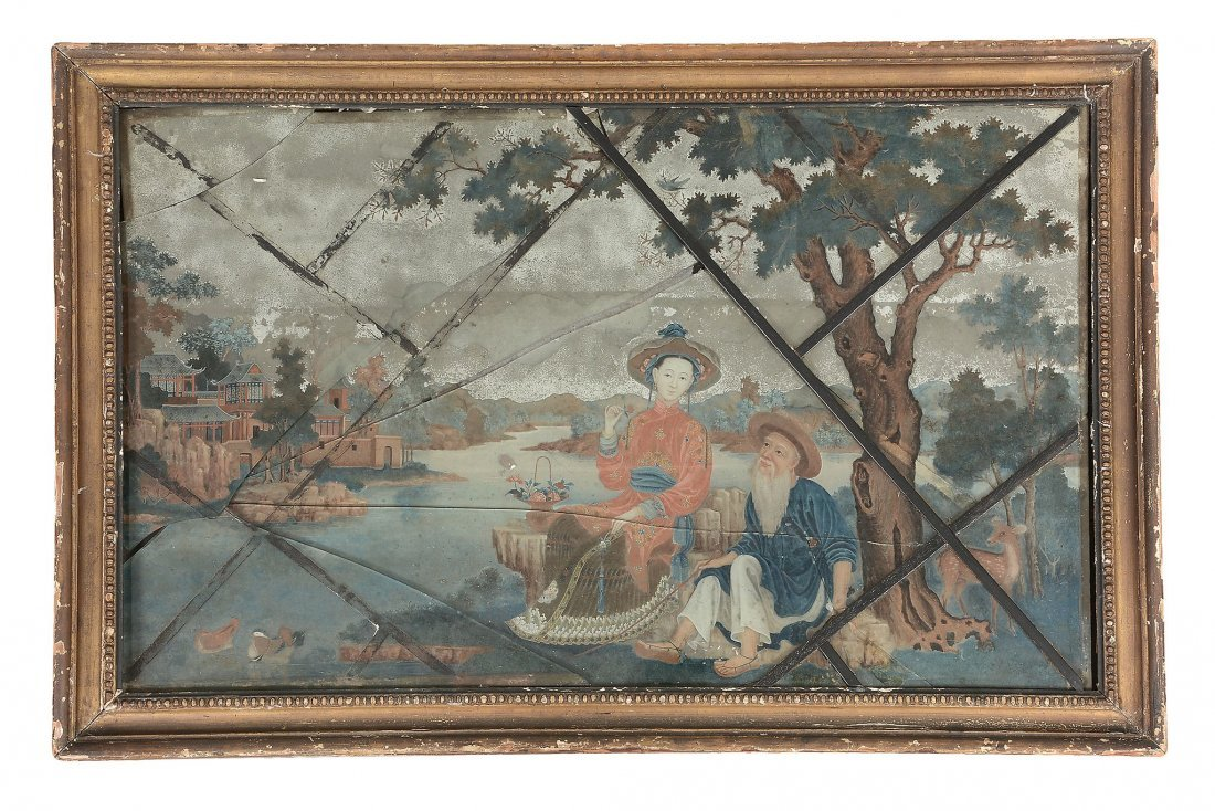 A Chinese Export reverse-glass mirror painting, 18th
