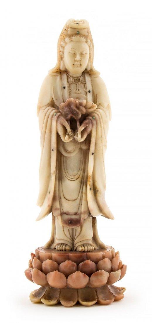 A soapstone figure of Guanyin, Qing dynasty