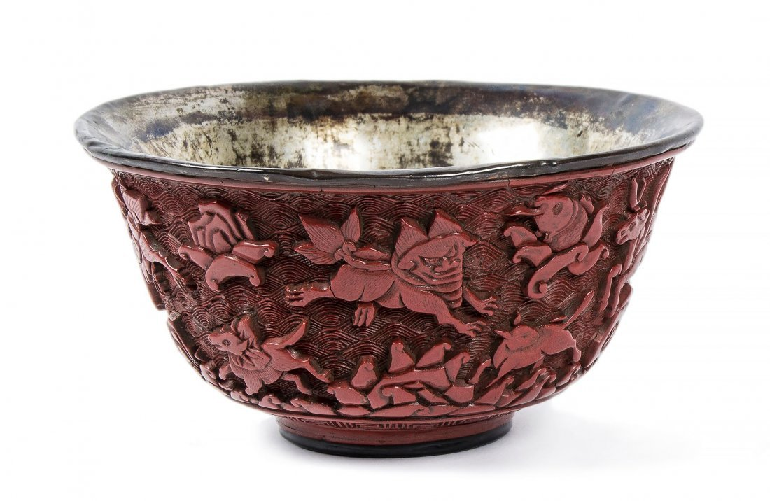 An unusual carved red lacquer bowl, Ming dynasty
