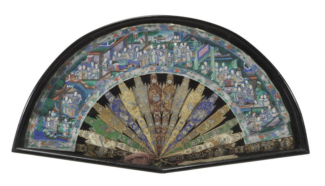 A Chinese Export fan, 19th century, painted in gouache