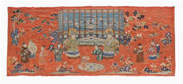 A Chinese red ground satin commemorative hanging, 19th