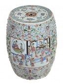 A Chinese famille rose garden stool , 19th century ,