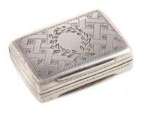 An early Victorian silver small rectangular vinaigrette