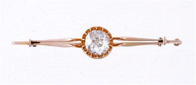 A late Victorian single stone diamond bar brooch ,