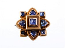 A mid 19th century gold and sapphire quatrefoil