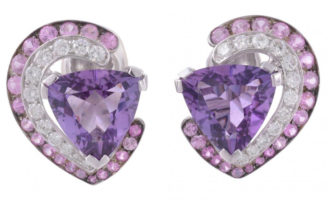 A pair of amethyst, diamond and pink sapphire heart ear