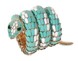 An enamel and emerald 'Serpenti' bangle wristwatch by