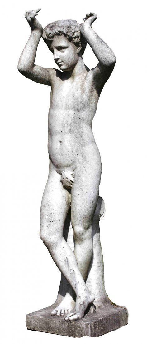 A sculpted white marble model of Dionysus as a Youth ,