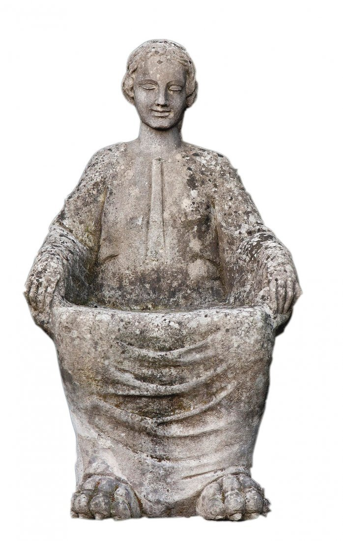 A carved limestone figural seat modelled as a goddess